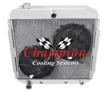 """2 Row Cold Champion Radiator W/ 2 10"""" Fans for 1953 54 55 1956 Ford Truck V6, V8"""