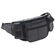 Large Black Leather Fanny Pack Mens Waist Belt Bag Womens Purse Hip Pouch Travel
