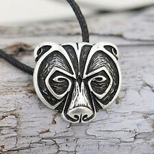 Bear Head Amulet Pendant Necklace Norse Viking Necklace Talisman Jewelry QW
