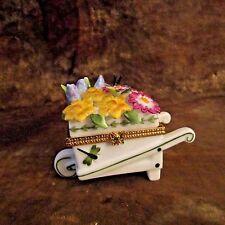 Portmeirion Wheelbarrow Filled W/Flowers Trinket Box/Ladybug/Dragonfly/Butterfly