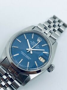Vintage Rolex Oyster Perpetual DateJust Mid Size 31mm Rare Blue Dial Ref. 6800