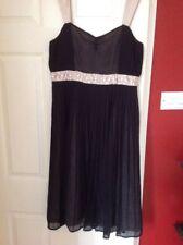 Next Size 12 Ladies Gorgeous Evening Special Occasion Dress Black Taupe Appliqué