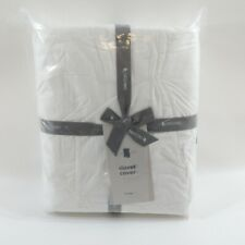 """100% Organic Cotton White Duvet Cover by West Elm King Size 108 x 92"""" New"""