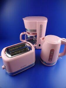 Exquisit FS7102 ppi Retro Frühstück Set Toaster Wasserkocher Kaffeemaschine Rosa