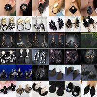 NEW Handmade Black Resin Crystal Earrings Tassel Drop Dangle Wedding Party Gifts