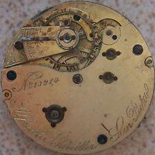 Schneitter Debély Bienne Vintage Pocket Watch movement & dial 43 mm.