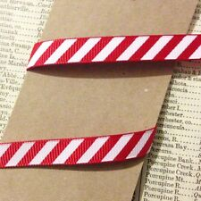 3M Red & White Stripe Candy Cane Grosgrain Ribbon 10mm Christmas Craft