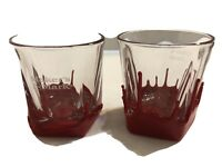 MAKERS MARK COCKTAIL BAR GLASSES KENTUCKY BOURBON RED DIPPED (2) 8 OZ