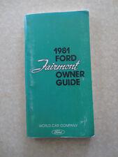 Original 1981 Ford Fairmont car owner's manual