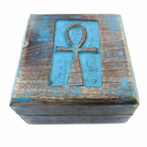 """NEW Ankh Wooden Trinket Box 4"""" Square Painted Wood Egyptian Mini Chest"""