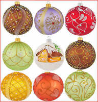 6 Glass Christmas Baubles  Handmade & Painted Balls Ball Tree Decorations Set 3
