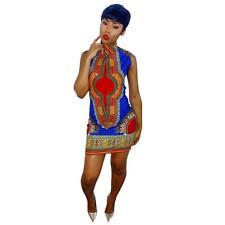US Fashion Women African Casual Bodycon Bohemia Sleeveless Party Mini Dress M