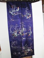 Antique Chinese Early 20th Century Embroidery on Silk Water Pavilion Tapestry
