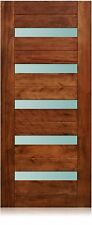"California Design - 36""x80"" Exterior Unfinished Modern Mahogany Pre-Hung Door"