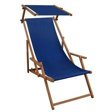 Chaise Longue Bleu de Jardin Hêtre Plage Toit Ouvrant Lit Soleil 10-307 S
