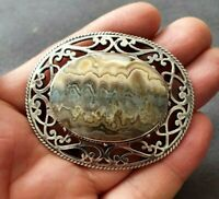 Very Large David Scott Walker Agate & Sterling Silver Pin Brooch 26.7g