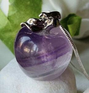 Real Amethyst Pretty Apple Stone pendant on Long Snake Silver Chain necklace UK