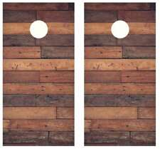 Rustic Planked Dark Wood Cornhole Board Wraps Free Squeegee #2470
