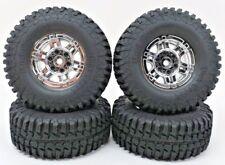 Rock Crawler 1.9mm  Chrome 5 Spoke Wheels with Tires Wraith SCX10 AX10 Scale