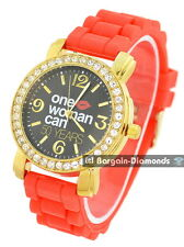 ladies One Woman Can message watch gold CZ black dial red silicone strap