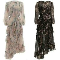 New Chic Women Floral Silk Blend Wisteria Print Falbala Maxi Dress Bohemia Dress