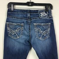 Big Star Womens Jeans Blue Dark Wash Rikki Low Rise Straight Size 26 Inseam 27""