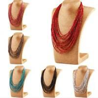 Fashion Multilayer Chain Handmade Resin Seed Beads Choker Pendant Bib Necklace