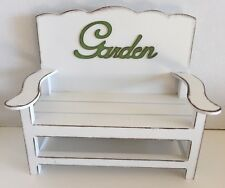 Fairy Hollow Garden Bench White for Fairy Gardens, Dolls, Bears, Toys Display