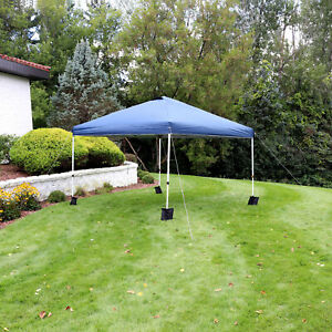 Sunnydaze 12x12 Foot Premium Pop-Up Canopy with Rolling Carry Bag - Blue
