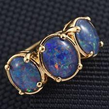 4.25Cts  Australian Boulder Opal Trilogy 14K Y Gold/925 Ring Size M