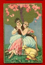 ART DECO EASTER ROMANCE # 183 BY CHIOSTRI VINTAGE POSTCARD USED 3083