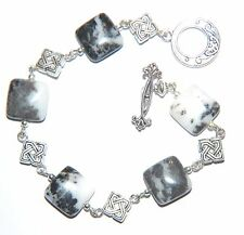 Black & White ZEBRA JASPER Square Gemstone Linked Silver Bracelet