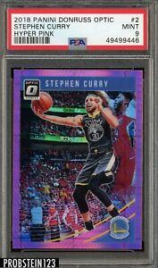 2018-19 Optic Basketball Stephen Curry WARRIORS #2 Hyper Pink PSA 9