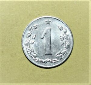 Czechoslovakia 1 Haler 1962 Choice Uncirculated Coin - Czech Lion