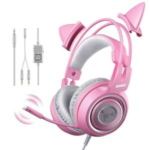 Wired Headset Cat Ear Headset Cute PS4 Phone PC With Microphone 3.5mm Gaming