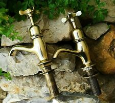 TRADITIONAL PORTUGUESE  BRASS ANTIQUE GOLD BATH TAPS COLD OUR HOT