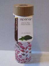 Apana Detox Tea Double Wall Yoga Glass Bottle 18 oz Pink Leaves NWT