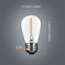 Luxbird 0.8W=10W 110V LED Warm White S14 Light bulbs Candle Lamps Filament E26