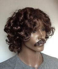 Dark Brown Men's Curly Fancy Dress Wig & Moustache (Middle Parting)