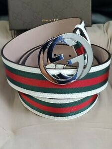 "NWT Authentic Gucci Belt White Green Red Stripes GG 95cm 32""-34"" Waist"