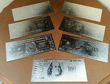 Silver Leaf Banknotes $100 $50 $20 $10 $5 $2 $1 Real Look U.S. Bills 7pcs.