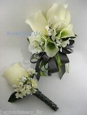 Cream Green Gray Wedding Prom Rose Flower Wrist Pin On Corsage Boutonniere Set