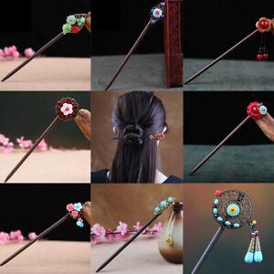 Chinese Style Wooden Hair Chopstick Stick Pin Handmade Elegant Flower Hairpin