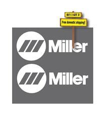 Pair of (2) Miller Die Cut Decal Sticker Welding White 3.25x8.25 P56