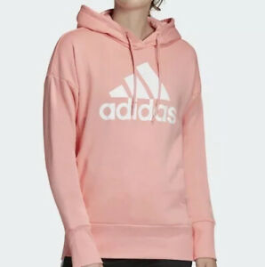 Adidas Badge Of Sport Long Hoodie (Women's Size L) Pullover Sweatshirt Pink