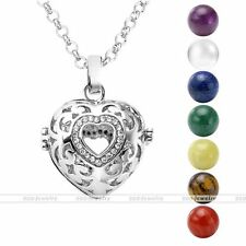 Silvery Crystal Heart 7 Chakra Gemstone Ball Beads Locket Cage Pendant Necklace