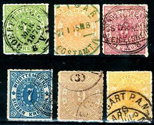 Württemberg, Mi.-Nr.36-41o, mit  Postablagestempel+Grüner Stempel !!!