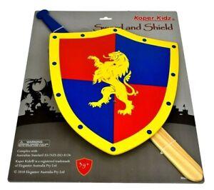 NEW Kaper Kidz Wooden Sword & Shield Lion, Kid's Children, Pretend Play Toy