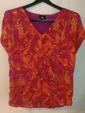 MOSSIMO Short Dolman sleeve BRIGHT Orange Purple Silky Top Shirt * Small Medium