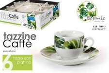 SET 12 PEZZI TAZZINE CAFFè 6 TAZZE 6 PIATTI PORCELLANA BIANCA BOTANIC 738913